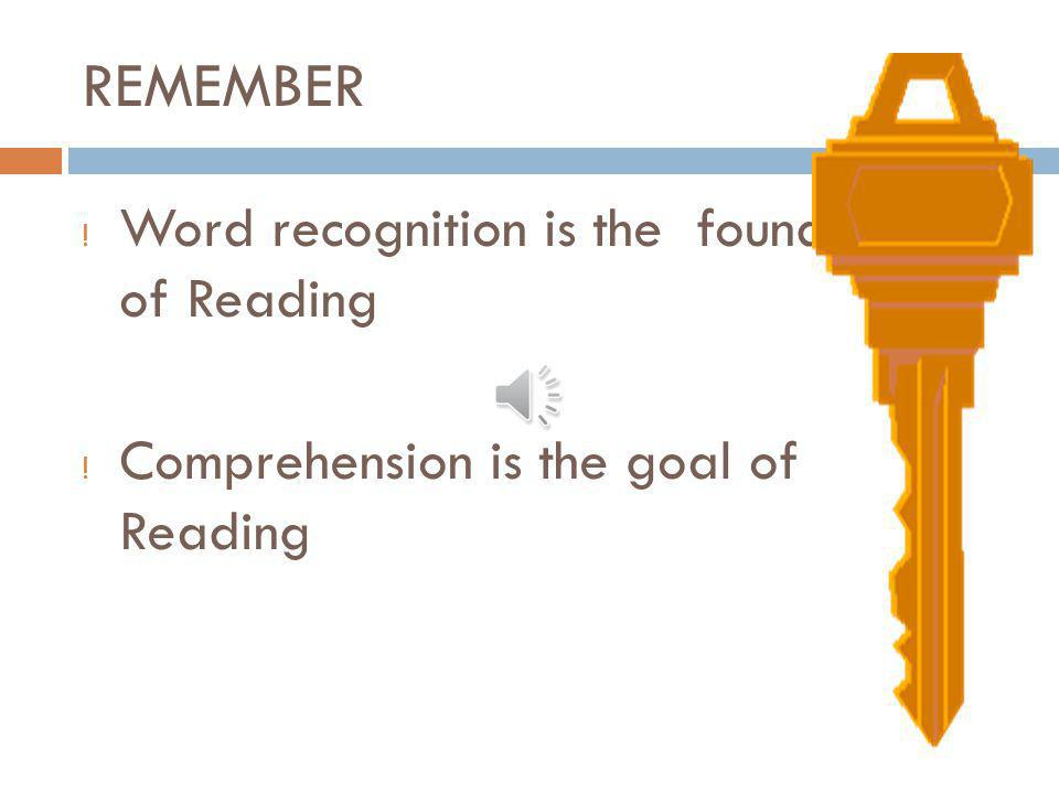 REMEMBER Word recognition is the foundation of Reading