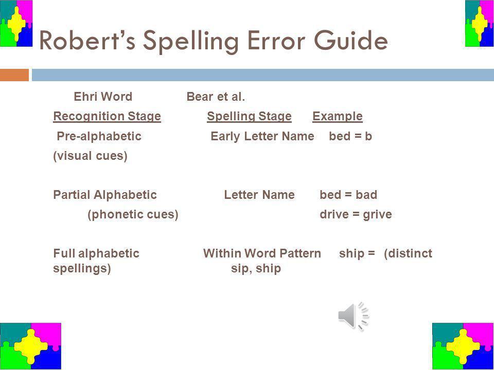 Robert's Spelling Error Guide
