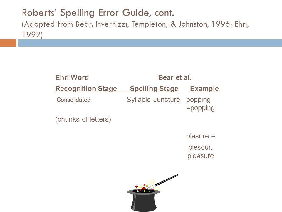 Roberts' Spelling Error Guide, cont