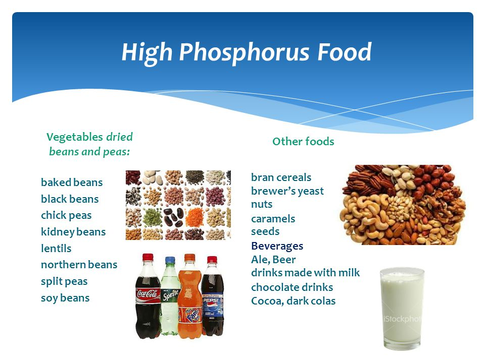 High Phosphorus Food Vegetables dried Other foods beans and peas: