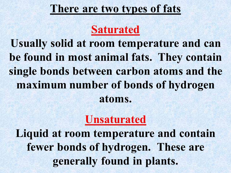 There are two types of fats