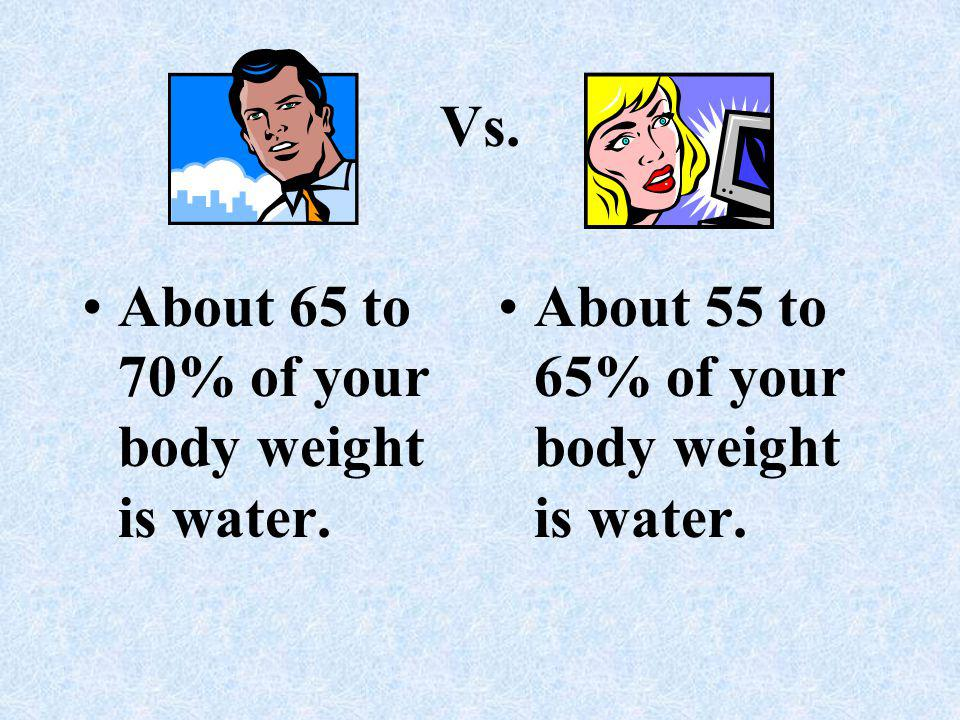 Vs. About 65 to 70% of your body weight is water. About 55 to 65% of your body weight is water.