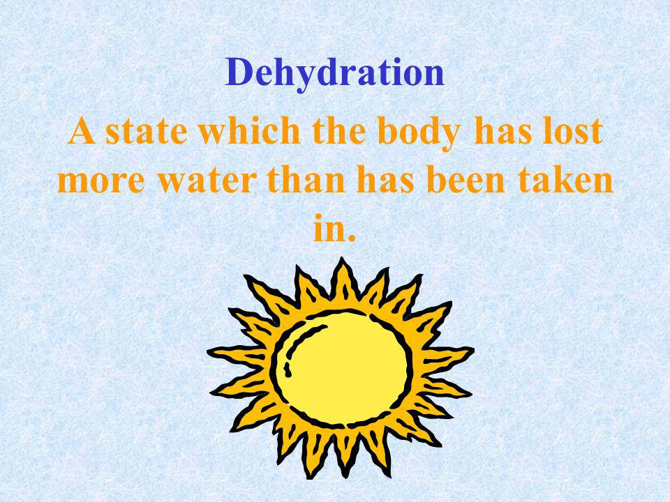 A state which the body has lost more water than has been taken in.