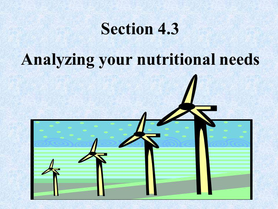 Analyzing your nutritional needs