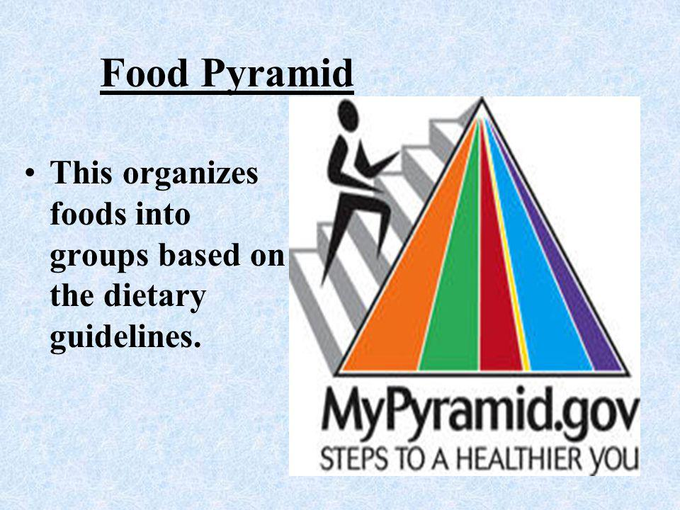 Food Pyramid P This organizes foods into groups based on the dietary guidelines. D V FR C