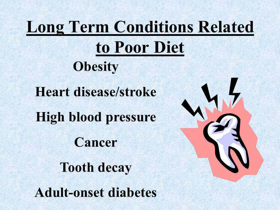 Long Term Conditions Related to Poor Diet