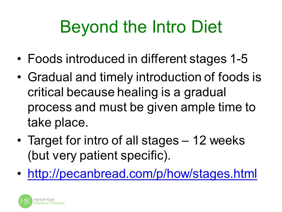 Beyond the Intro Diet Foods introduced in different stages 1-5