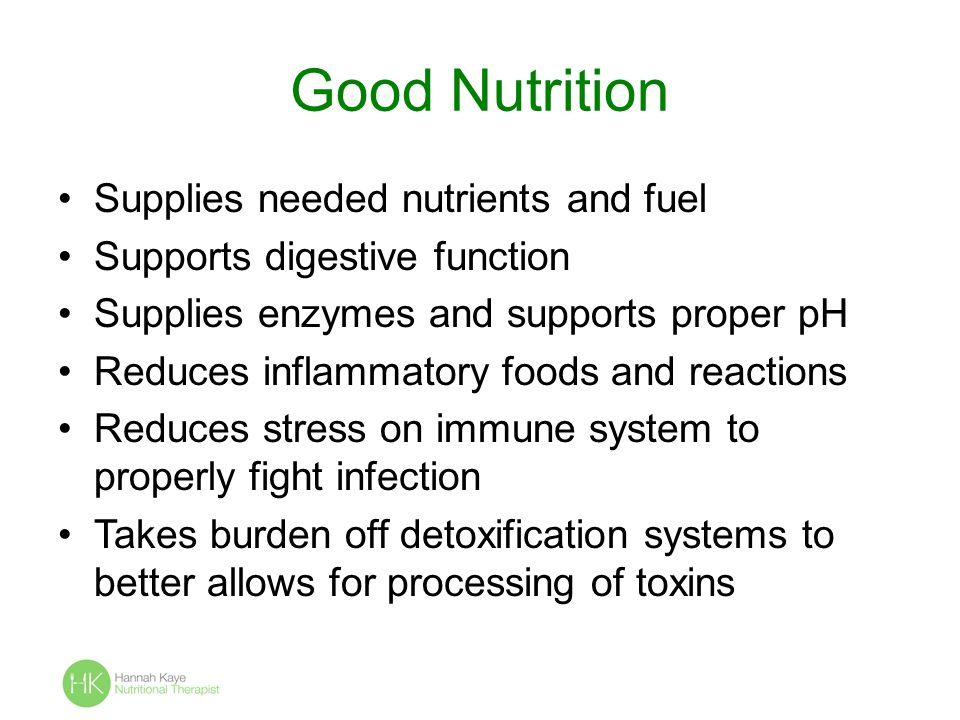 Good Nutrition Supplies needed nutrients and fuel