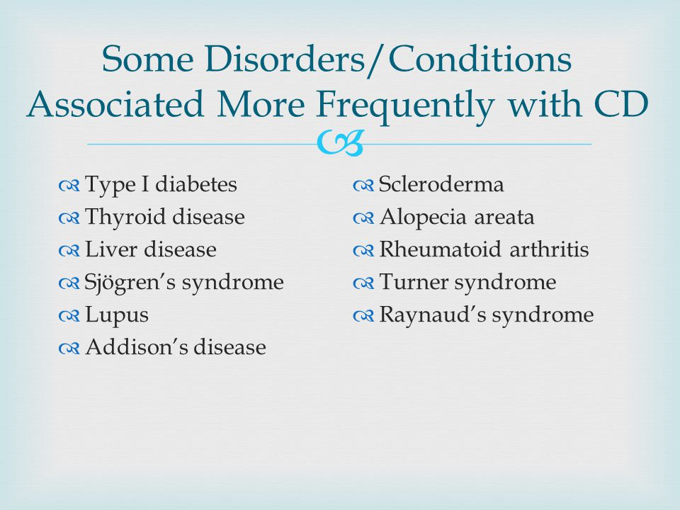 Some Disorders/Conditions Associated More Frequently with CD