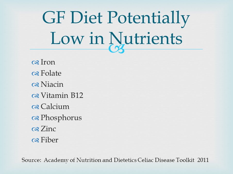 GF Diet Potentially Low in Nutrients