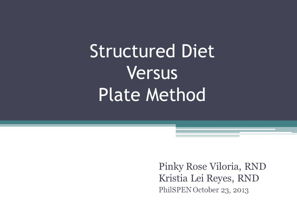 Structured Diet Versus Plate Method