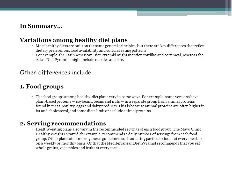 Variations among healthy diet plans