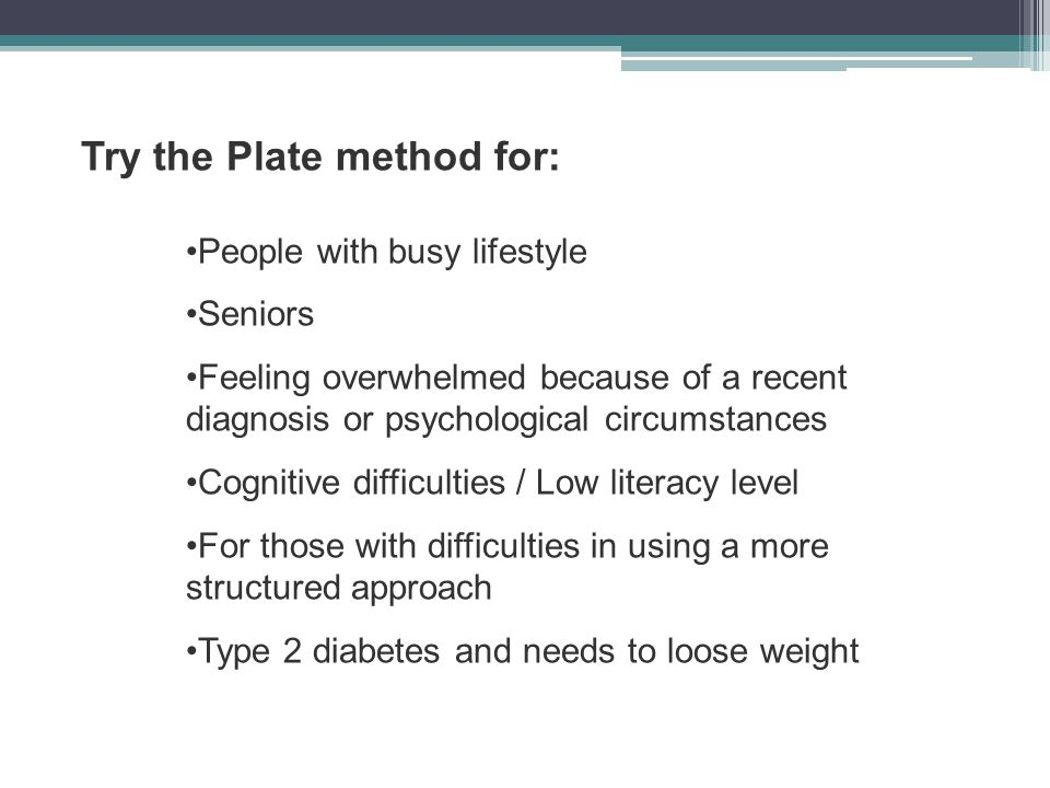 Try the Plate method for: