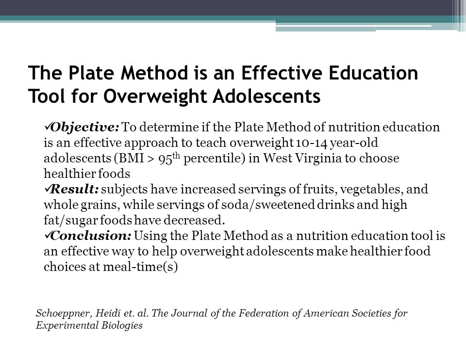 The Plate Method is an Effective Education Tool for Overweight Adolescents