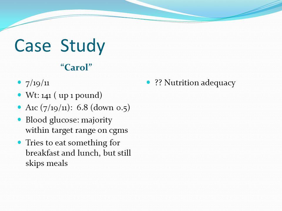 Case Study Carol 7/19/11 Wt: 141 ( up 1 pound)