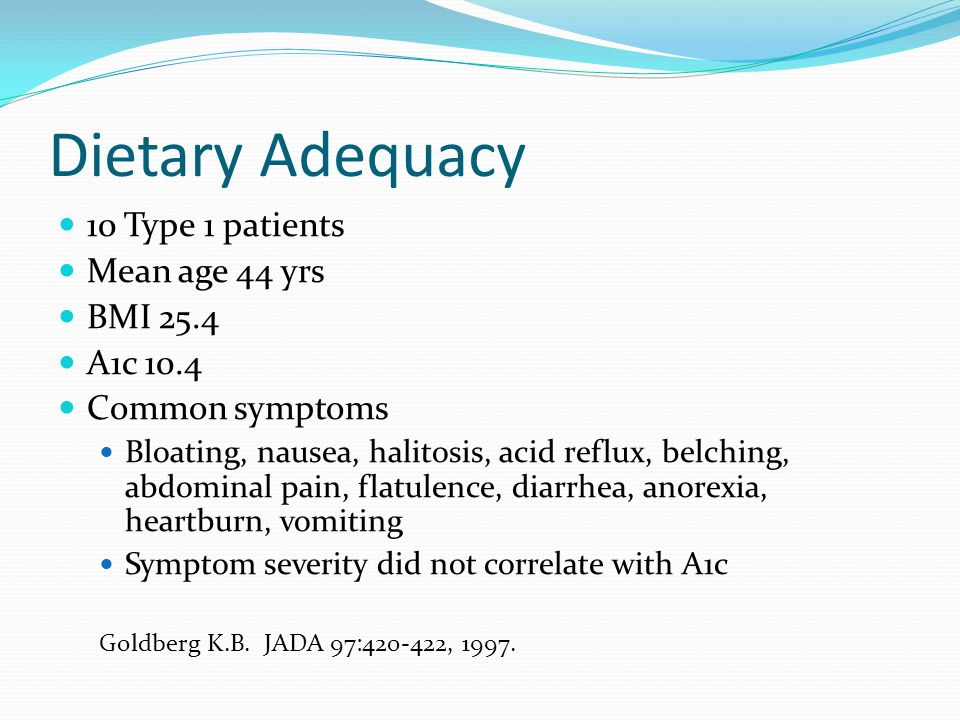 Dietary Adequacy 10 Type 1 patients Mean age 44 yrs BMI 25.4 A1c 10.4