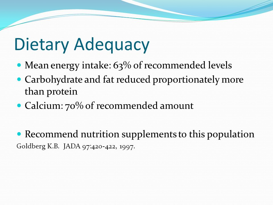 Dietary Adequacy Mean energy intake: 63% of recommended levels