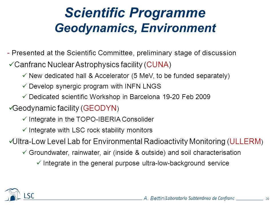 Scientific Programme Geodynamics, Environment
