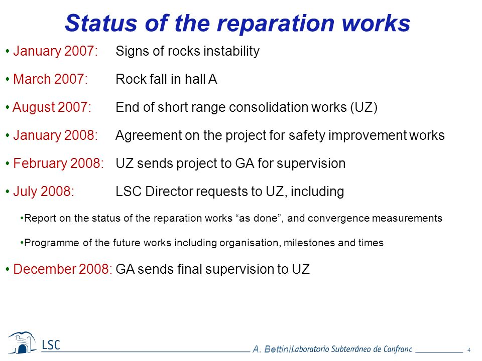 Status of the reparation works