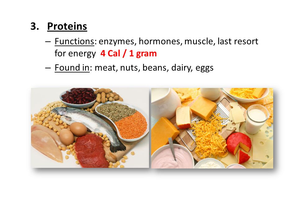 Proteins Functions: enzymes, hormones, muscle, last resort for energy 4 Cal / 1 gram.