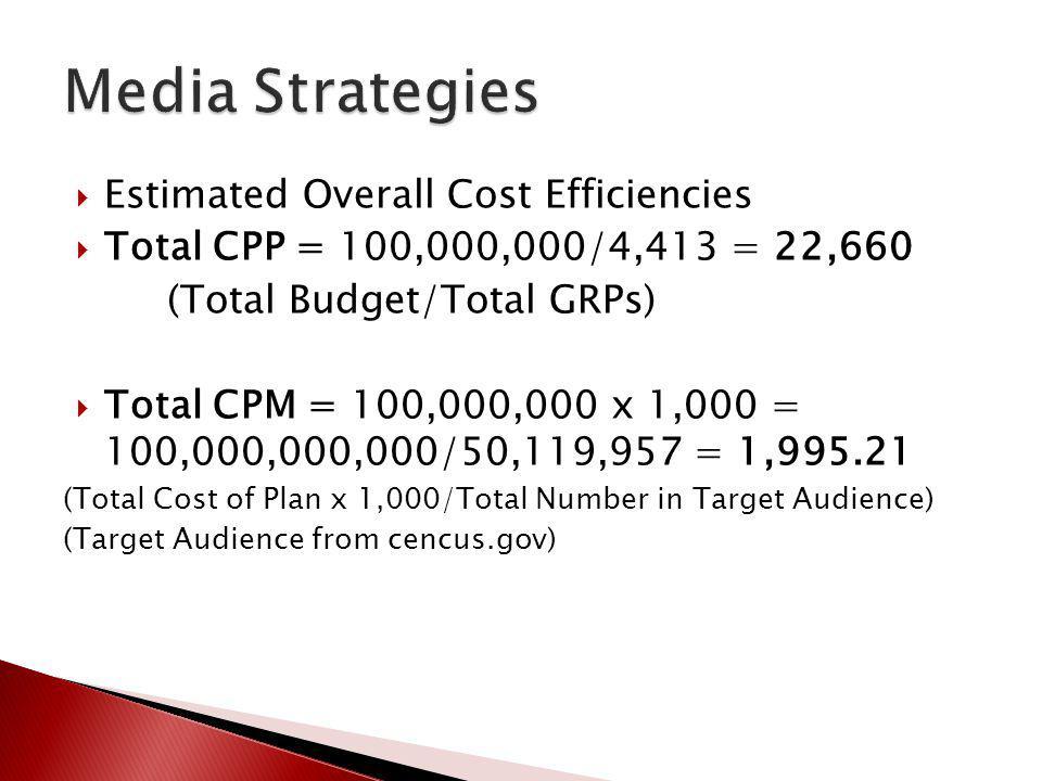 Media Strategies Estimated Overall Cost Efficiencies