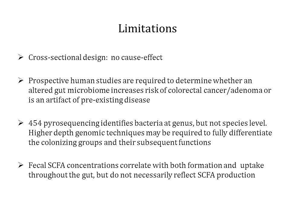 Limitations Cross-sectional design: no cause-effect