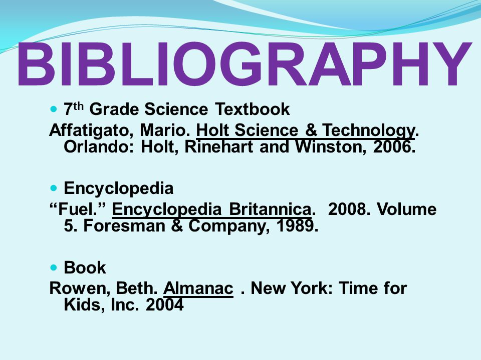 BIBLIOGRAPHY 7th Grade Science Textbook