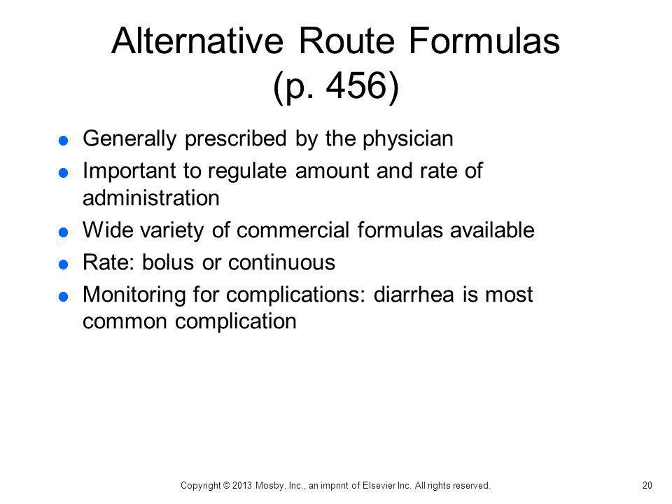 Alternative Route Formulas (p. 456)