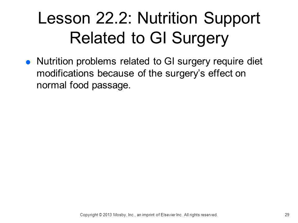 Lesson 22.2: Nutrition Support Related to GI Surgery