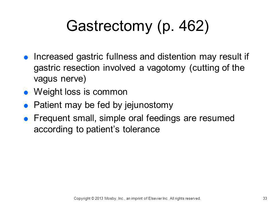 Gastrectomy (p. 462) Increased gastric fullness and distention may result if gastric resection involved a vagotomy (cutting of the vagus nerve)
