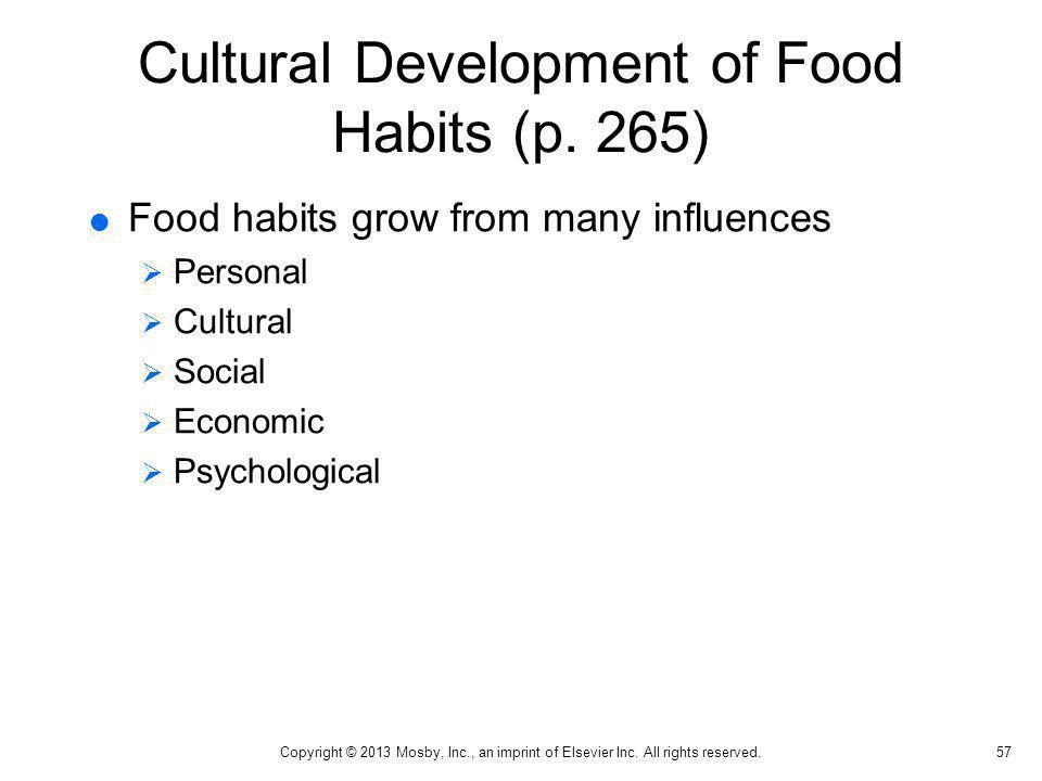 Cultural Development of Food Habits (p. 265)