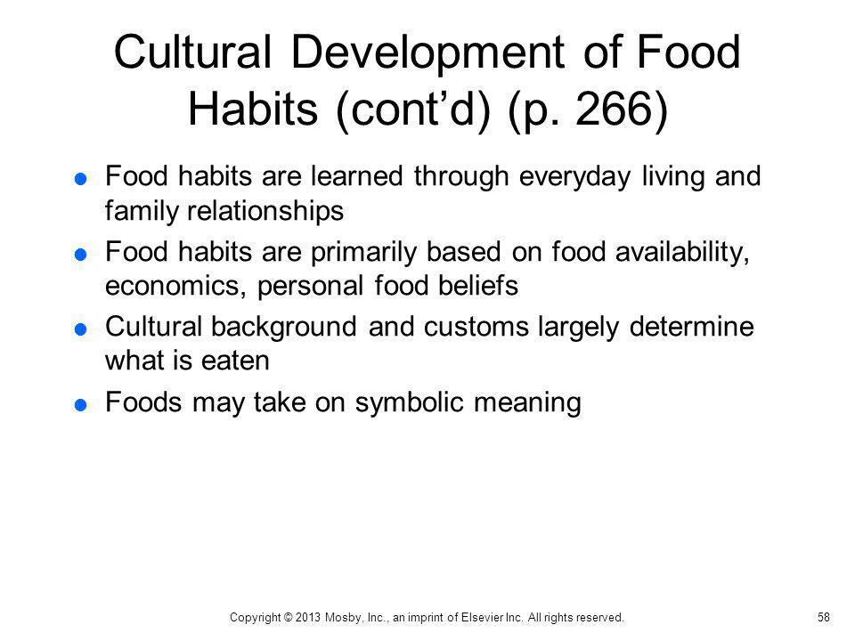 Cultural Development of Food Habits (cont'd) (p. 266)