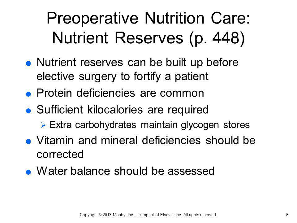 Preoperative Nutrition Care: Nutrient Reserves (p. 448)
