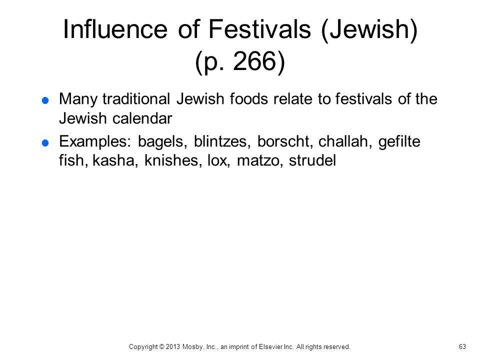 Influence of Festivals (Jewish) (p. 266)