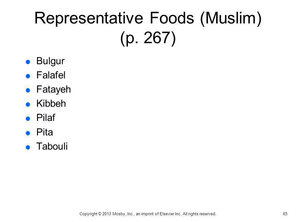Representative Foods (Muslim) (p. 267)