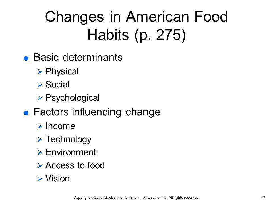 Changes in American Food Habits (p. 275)