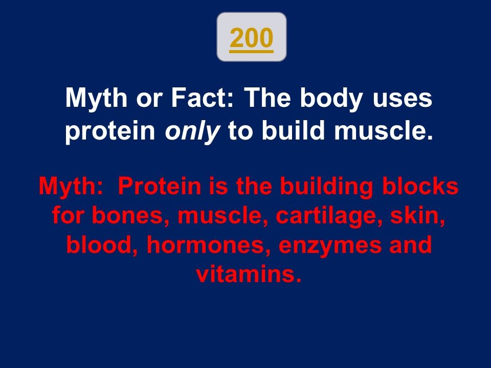 Myth or Fact: The body uses protein only to build muscle.