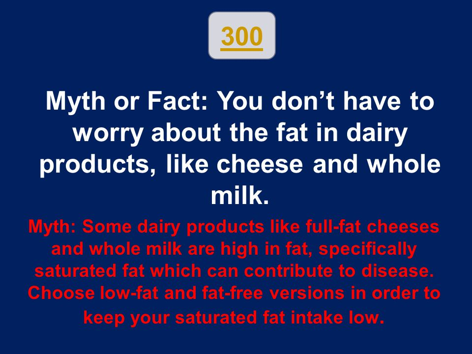 300 Myth or Fact: You don't have to worry about the fat in dairy products, like cheese and whole milk.