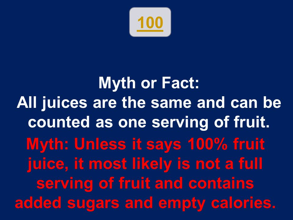 All juices are the same and can be counted as one serving of fruit.