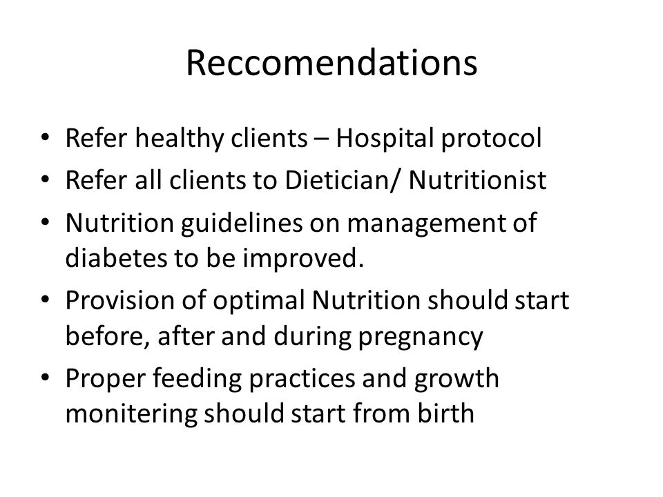 Reccomendations Refer healthy clients – Hospital protocol