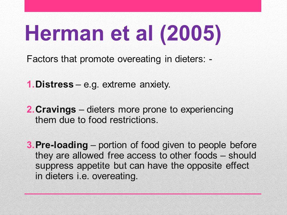Herman et al (2005) Factors that promote overeating in dieters: -