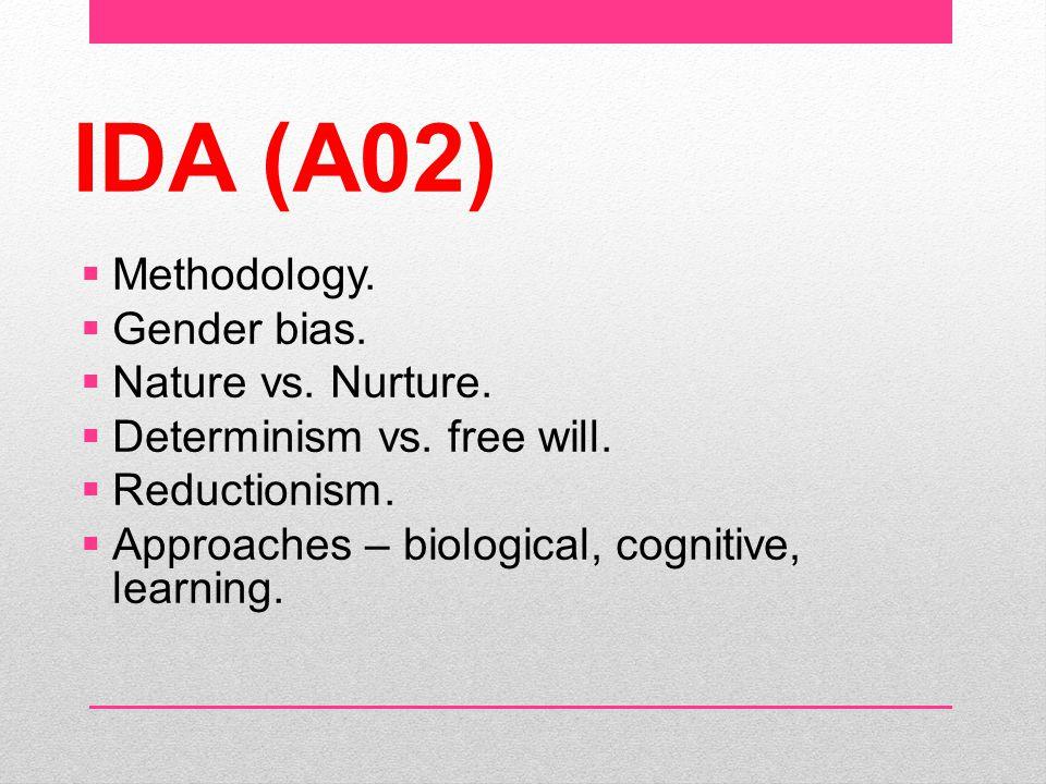 IDA (A02) Methodology. Gender bias. Nature vs. Nurture.