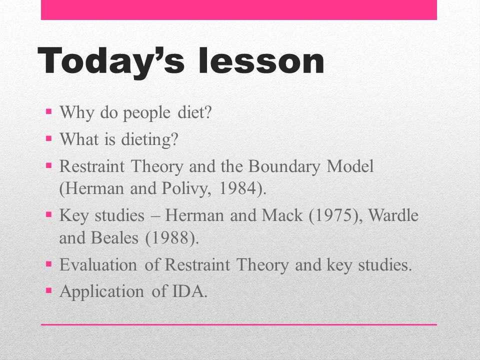 Today's lesson Why do people diet What is dieting
