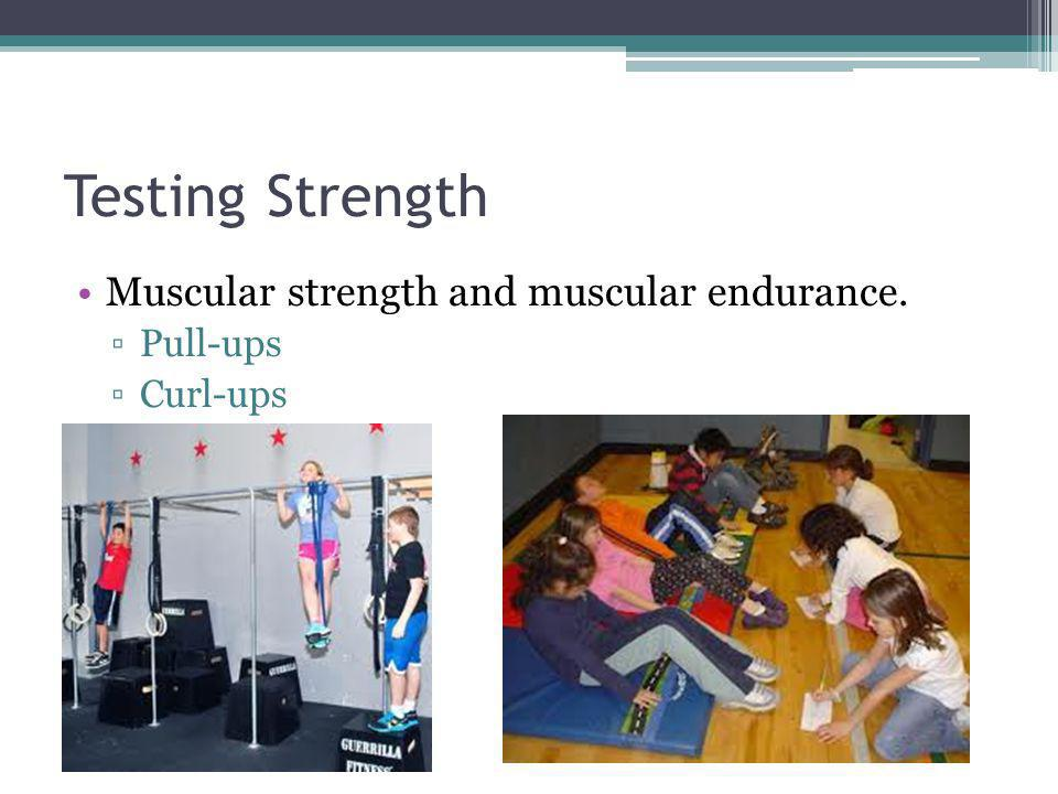 Testing Strength Muscular strength and muscular endurance. Pull-ups
