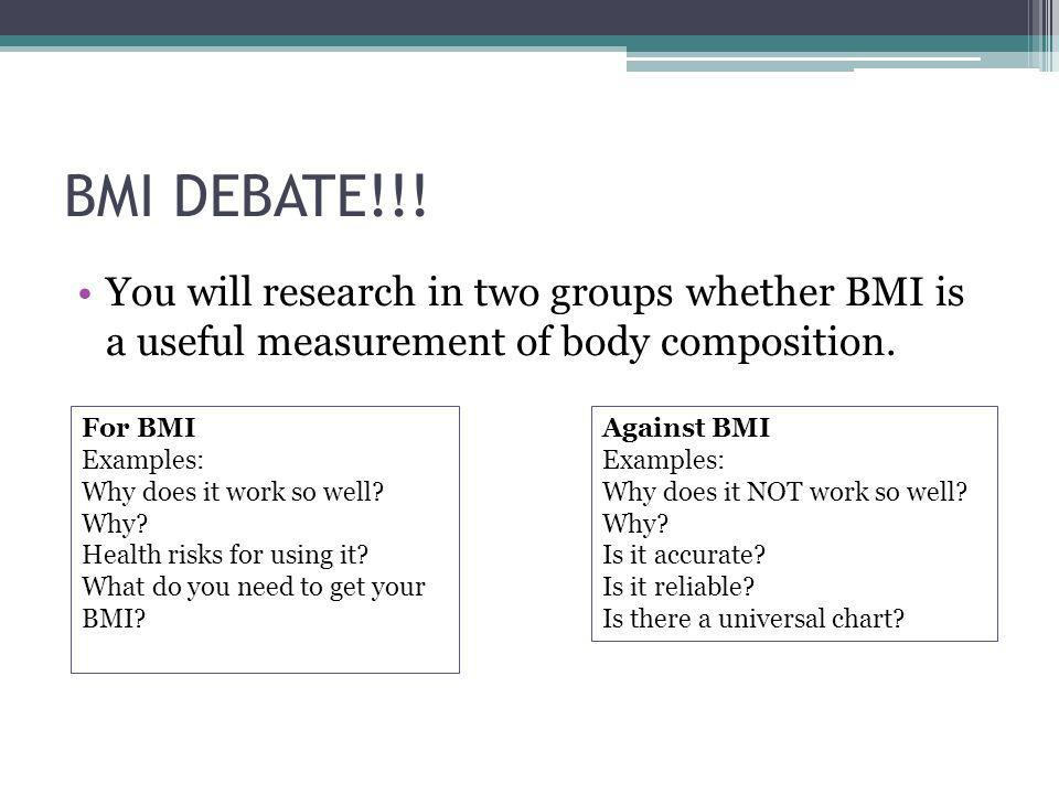 BMI DEBATE!!! You will research in two groups whether BMI is a useful measurement of body composition.
