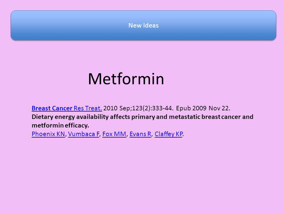 New Ideas Metformin. Breast Cancer Res Treat. 2010 Sep;123(2):333-44. Epub 2009 Nov 22.