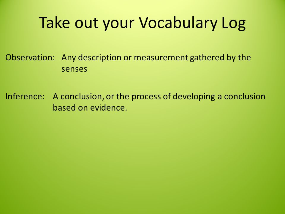 Take out your Vocabulary Log