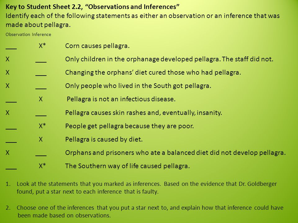 Key to Student Sheet 2.2, Observations and Inferences