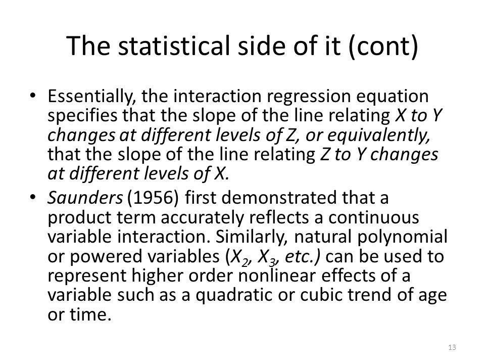 The statistical side of it (cont)