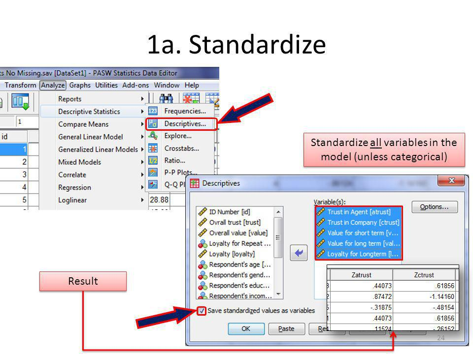 Standardize all variables in the model (unless categorical)